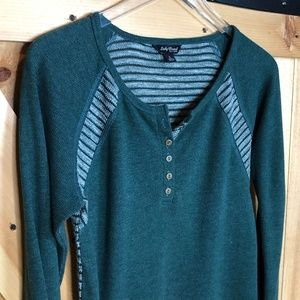 Lucky brand | green knitted waffle Henley
